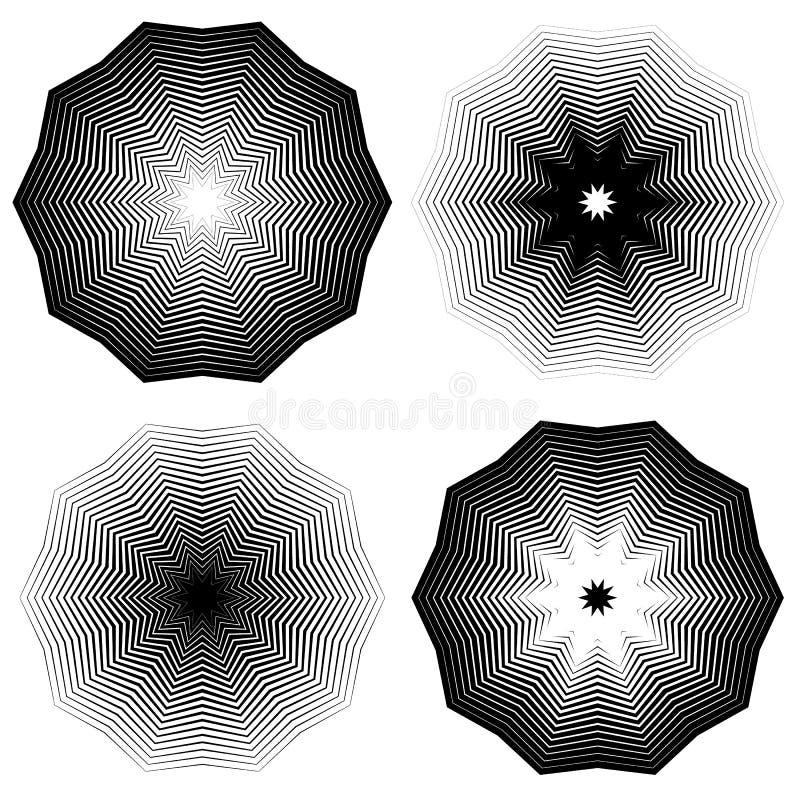 Download Радиальный, концентрический комплект формы Абстрактные Monochrome графики Иллюстрация вектора - иллюстрации насчитывающей иллюстрация, оптически: 81807849