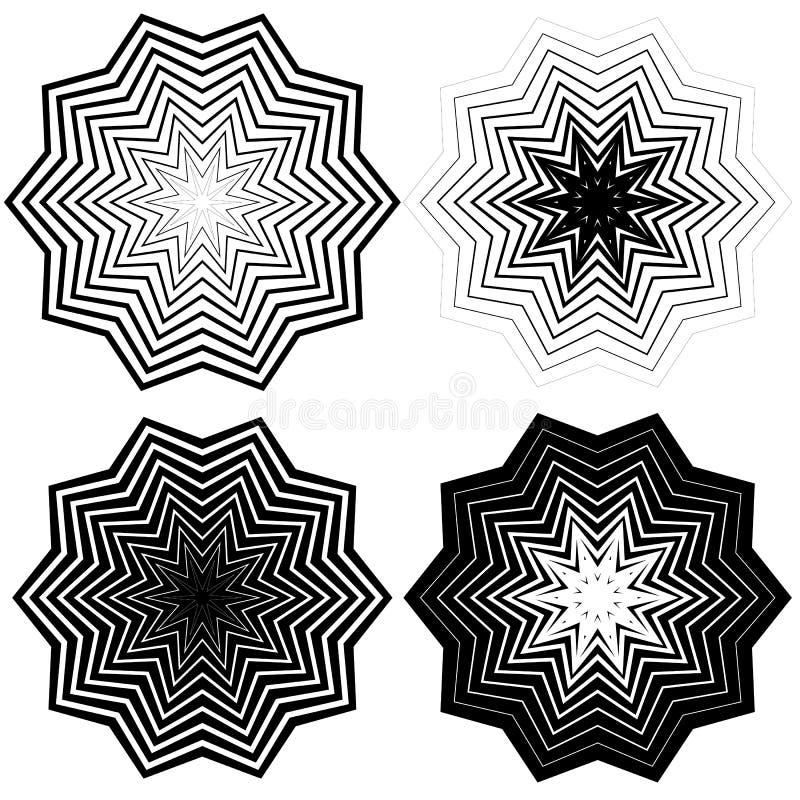Download Радиальный, концентрический комплект формы Абстрактные Monochrome графики Иллюстрация вектора - иллюстрации насчитывающей линии, минимально: 81808670