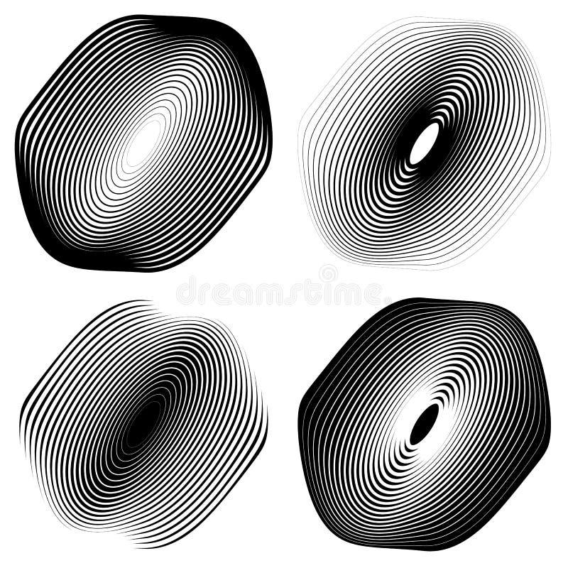 Download Радиальный, концентрический комплект формы Абстрактные Monochrome графики Иллюстрация вектора - иллюстрации насчитывающей контраст, конспектов: 81811174