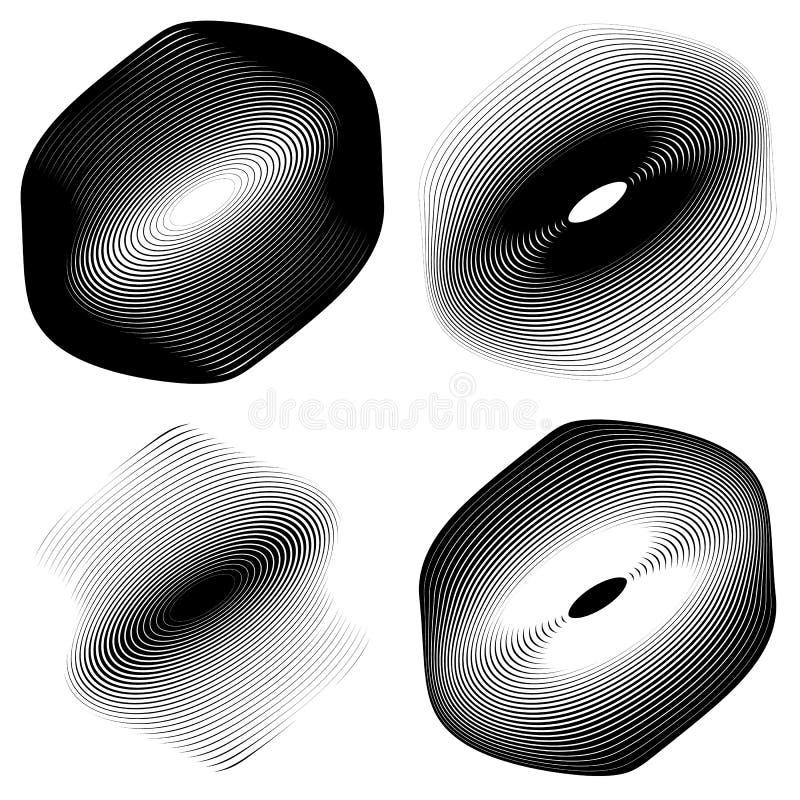 Download Радиальный, концентрический комплект формы Абстрактные Monochrome графики Иллюстрация вектора - иллюстрации насчитывающей форма, радиально: 81811202