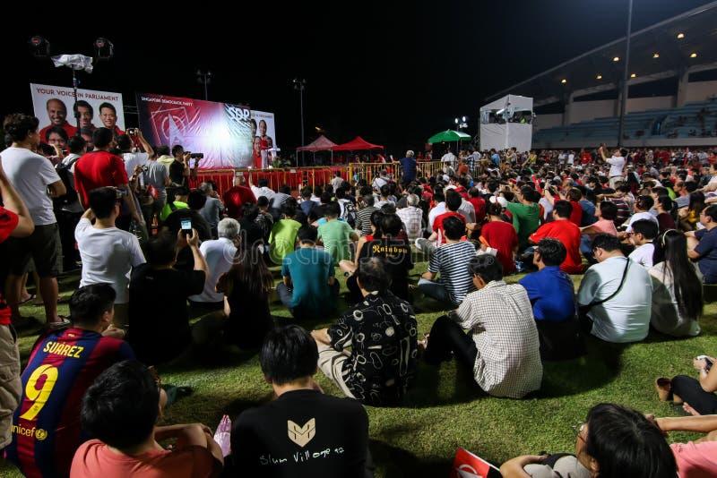Ралли 2015 SDP всеобщих выборов Сингапура стоковое фото