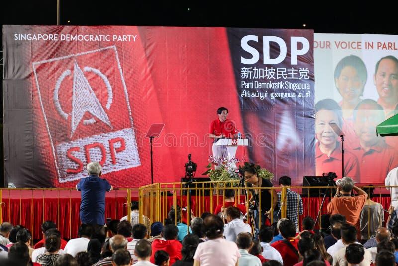 Ралли 2015 SDP всеобщих выборов Сингапура стоковые фото
