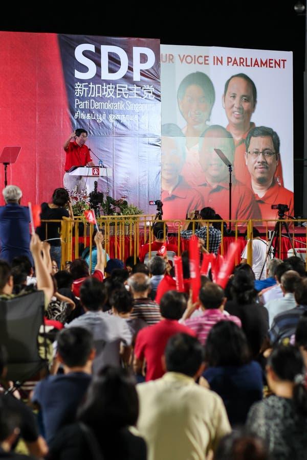 Ралли 2015 SDP всеобщих выборов Сингапура стоковое изображение