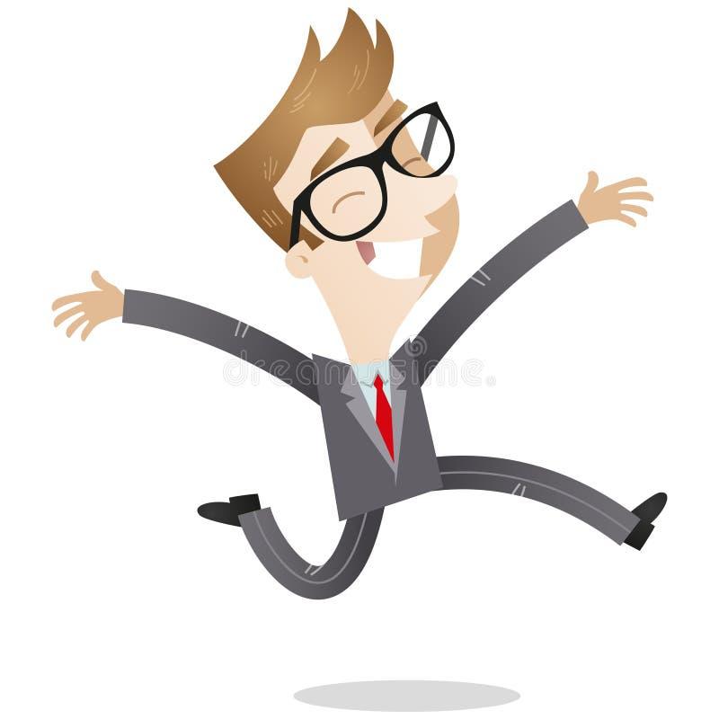 Радостный молодой скакать бизнесмена бесплатная иллюстрация