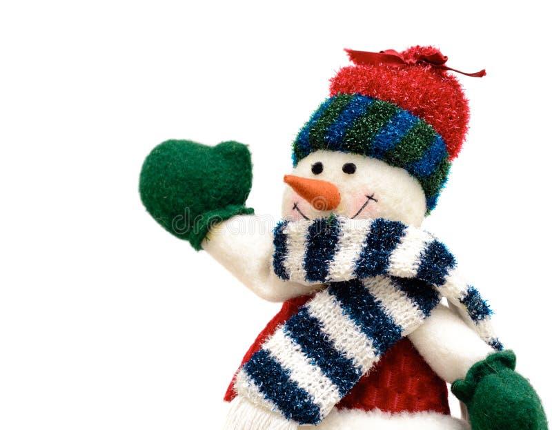 Радостный снеговик рождества изолированный на белой предпосылке стоковое изображение
