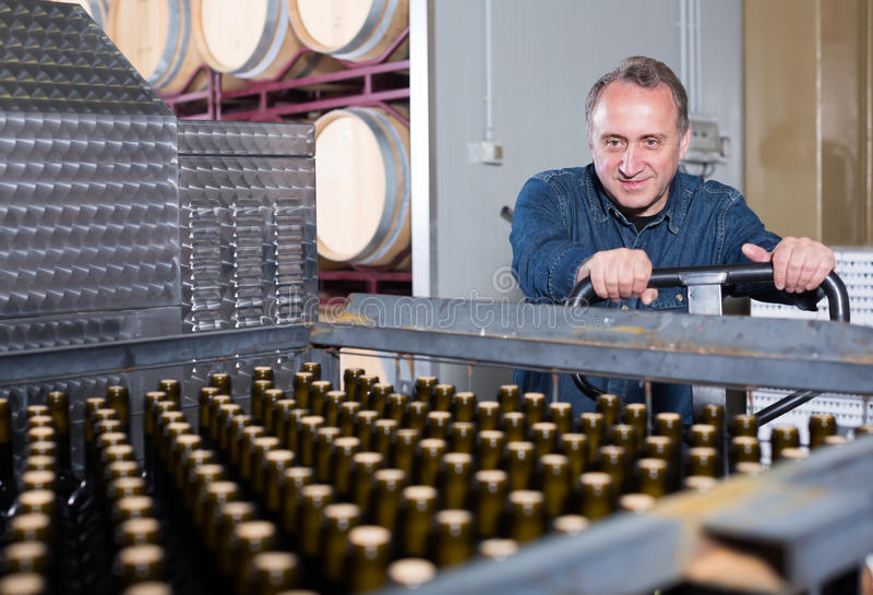 Радостный создатель вина разгржает контейнеры с бутылками стоковая фотография
