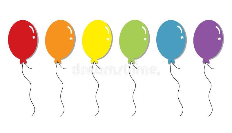 радуга воздушных шаров предпосылки 3d представляет белизну иллюстрация вектора