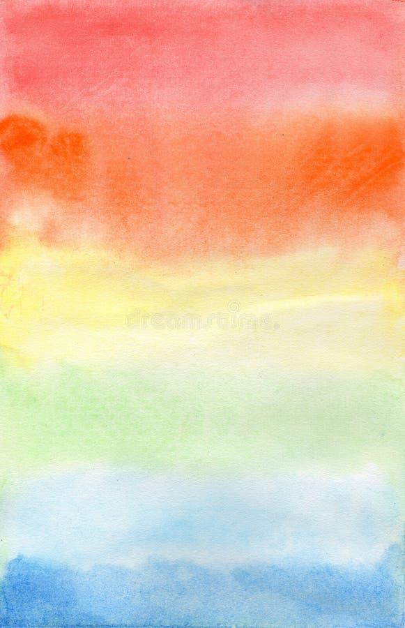 Радуга Aquarel на белой бумаге стоковое изображение