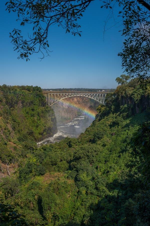 Радуга spanning каньон под мостом Victoria Falls стоковое фото rf