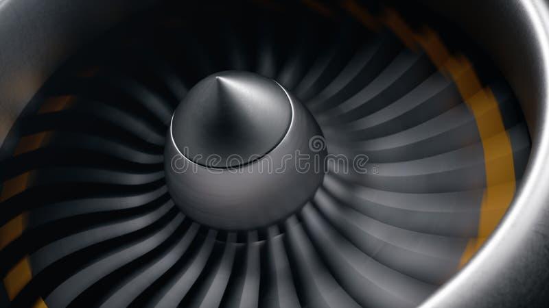 Реактивный двигатель, лезвия взгляда конца-вверх Лезвия двигателя на концах покрасили оранжевый Лезвия реактивного двигателя в дв иллюстрация штока