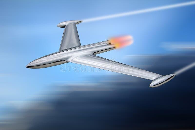 Реактивный истребитель прототипа военный на контрольном учебном полете бесплатная иллюстрация