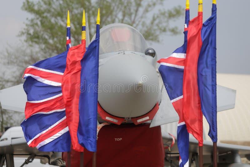 Реактивный истребитель тайфуна Eurofighter военно-воздушных сил Великобритании стоковое изображение