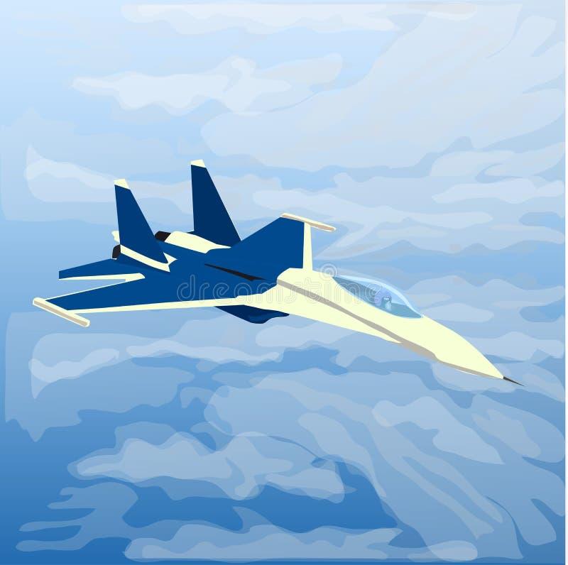 Реактивный плоский двигатель с пилотом внутрь в облаках иллюстрация вектора