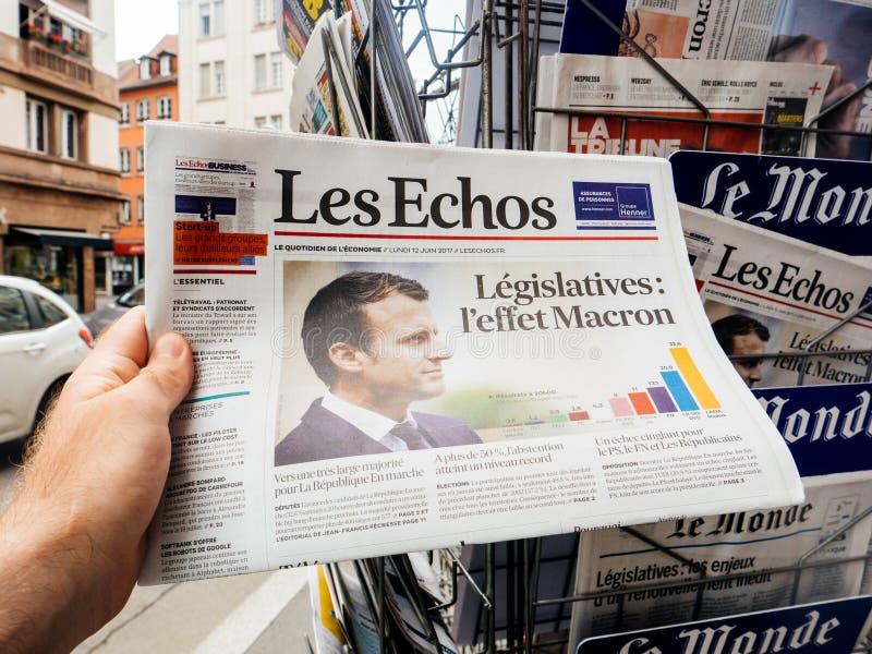 Реакции прессы Macron влияния к французским выборам в законодательные органы 20 стоковые изображения