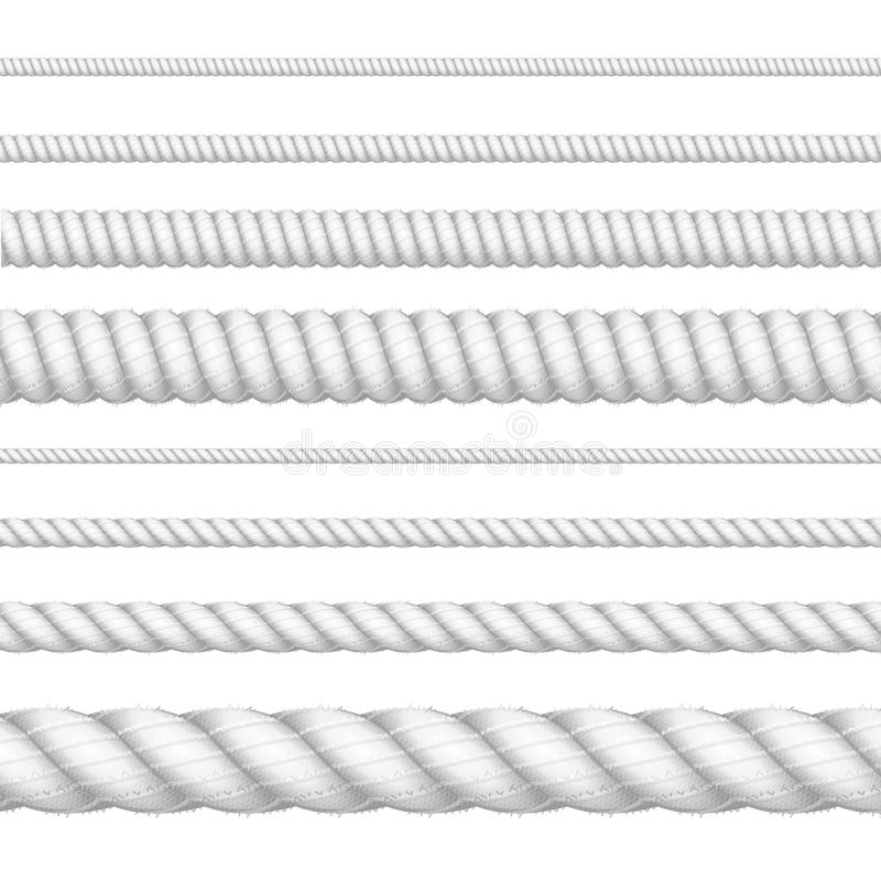 Реалистическая белая детальная линия комплект веревочки толщины 3d вектор бесплатная иллюстрация
