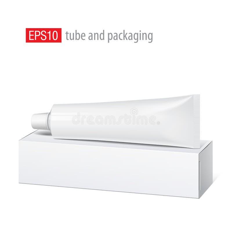 Реалистическая белая пробка и упаковывать. иллюстрация штока