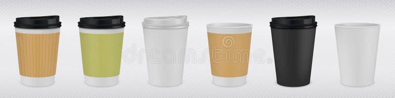 Реалистическая бумажная кофейная чашка Белая и коричневая насмешка кружки 3D вверх для горячих напитков на прозрачной предпосылке иллюстрация вектора