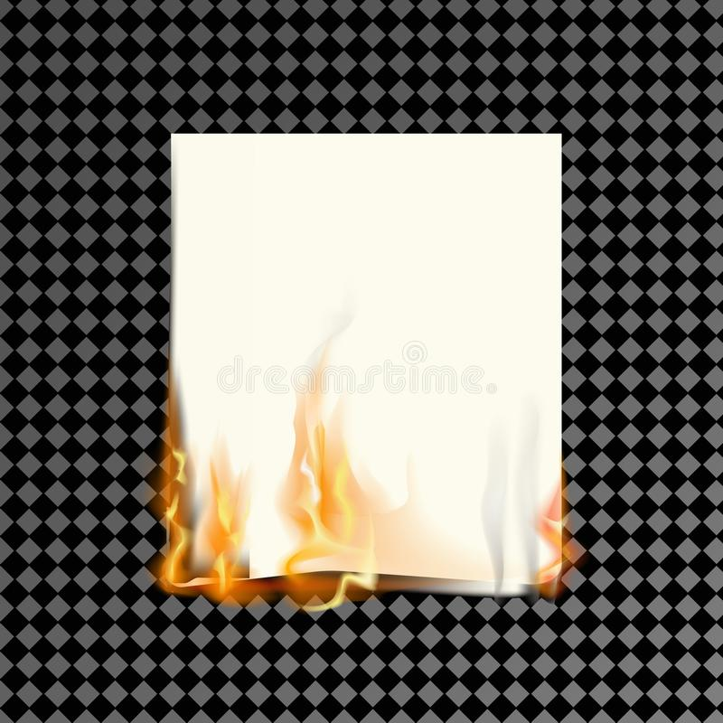 Реалистическая горящая бумага на прозрачной предпосылке иллюстрация вектора