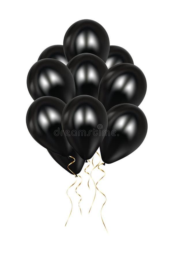 Реалистическая иллюстрация вектора баллонов черноты 3d Красочный лоснистый баллон Воздушные шары установили изолированный модель- иллюстрация вектора