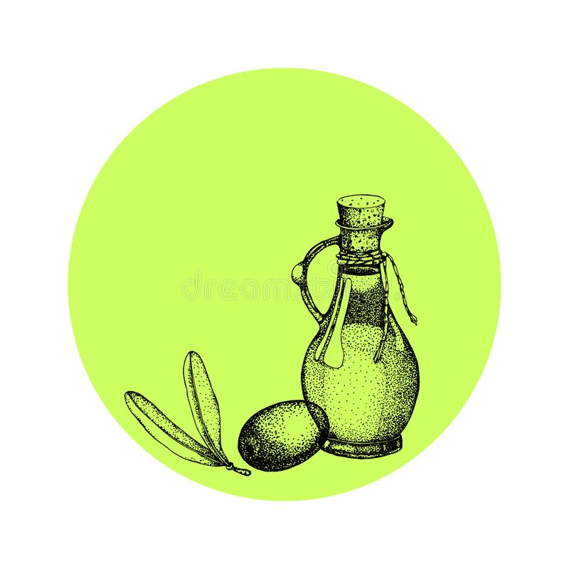 Реалистическая иллюстрация ветви черных и зеленых оливок изолированной на белой предпосылке Дизайн для оливкового масла, естестве бесплатная иллюстрация