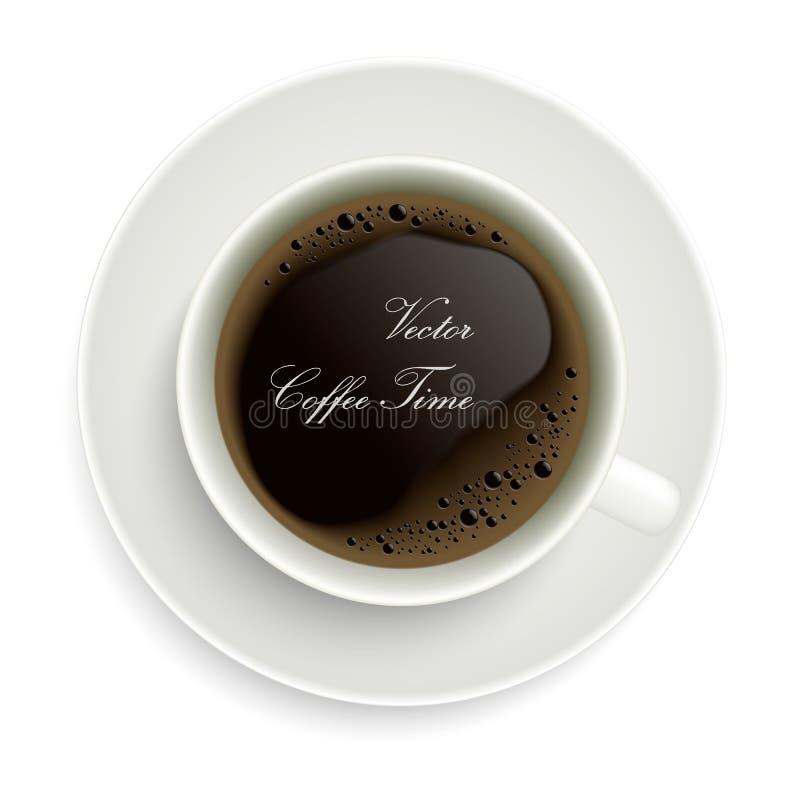 Реалистическая иллюстрация кофейной чашки с пузырями и cremou Белый фарфор или керамический поддонник, вектор бесплатная иллюстрация