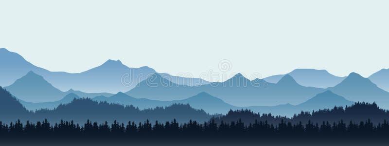 Реалистическая иллюстрация ландшафта горы с холмом и передними частями иллюстрация вектора