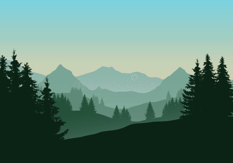 Реалистическая иллюстрация ландшафта горы с coniferous для иллюстрация штока