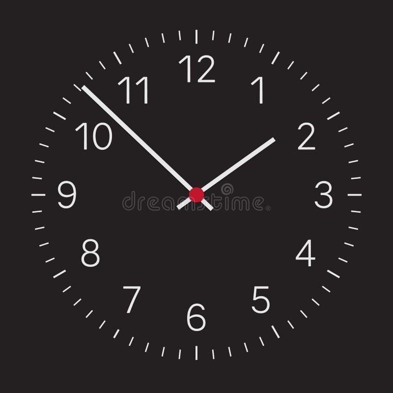 Реалистическая иллюстрация темного циферблата с серебряными номерами и часами и красным центром Изолированный на белой предпосылк иллюстрация штока