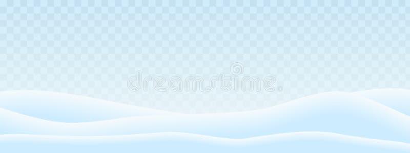 Реалистическая иллюстрация холмов в ландшафте зимы со снегом и прозрачным сине-белым небом Соответствующий как поздравительная от иллюстрация вектора