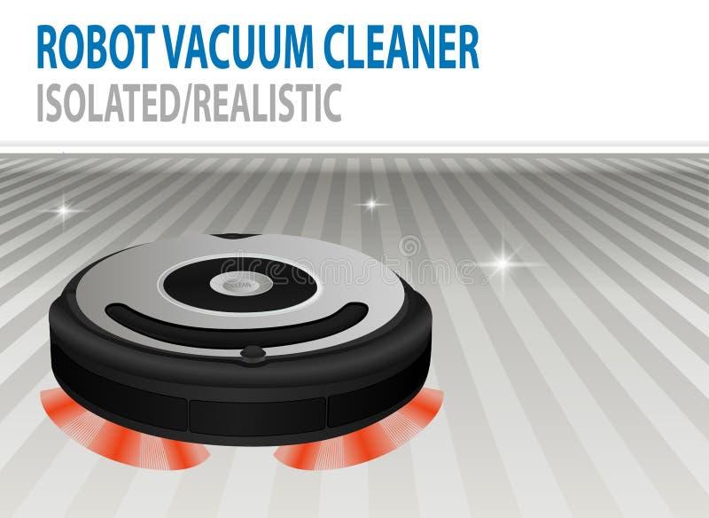 Реалистическая иллюстрация 3D изолированного пылесоса вектора робототехнического Умная очищая технология Комната Сlean иллюстрация вектора