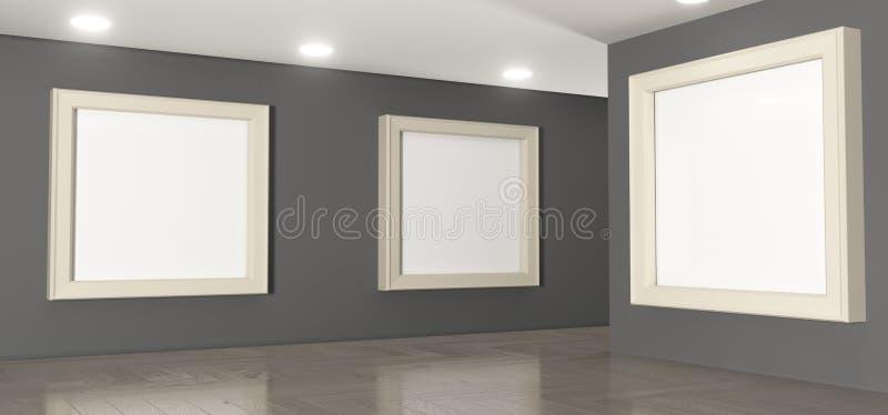 Реалистическая комната галереи с большими пустыми картинными рамками иллюстрация штока