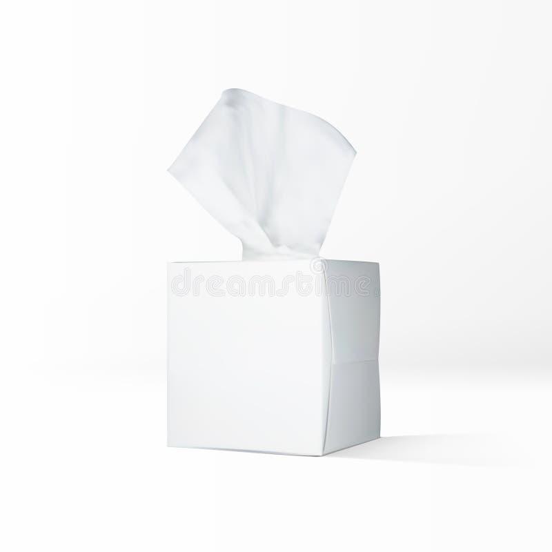 Реалистическая коробка бумажной салфетки изолированная на белой предпосылке иллюстрация вектора
