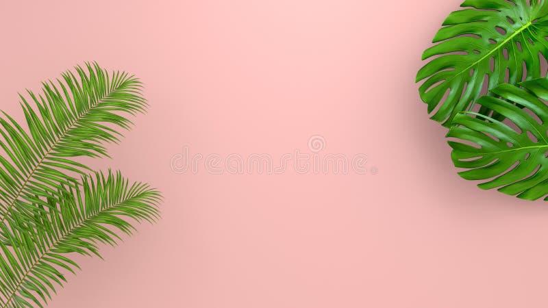 Реалистическая ладонь выходит на предпосылку коралла живущую для косметической иллюстрации объявления или моды Банан тропической  стоковая фотография