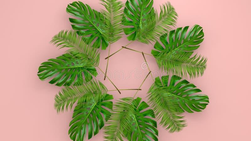 Реалистическая ладонь выходит на предпосылку коралла живущую для косметической иллюстрации объявления или моды Банан тропической  стоковое изображение rf
