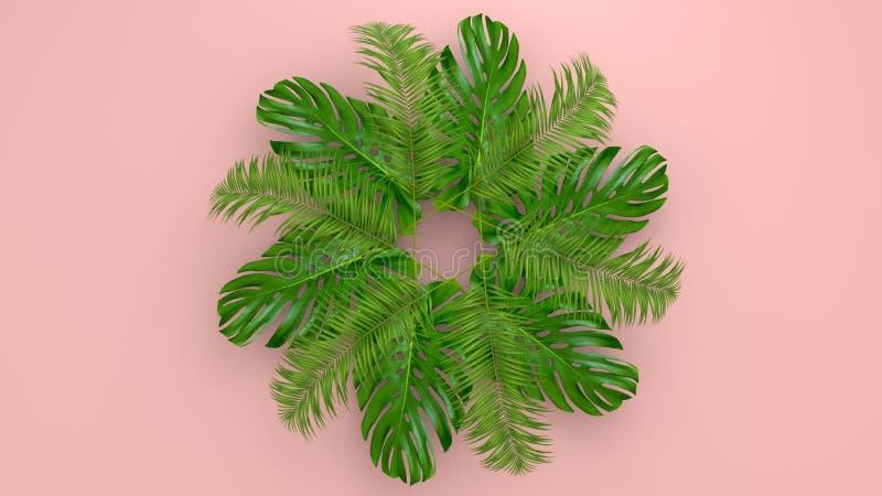 Реалистическая ладонь выходит на предпосылку коралла живущую для косметической иллюстрации объявления или моды Банан тропической  стоковое изображение