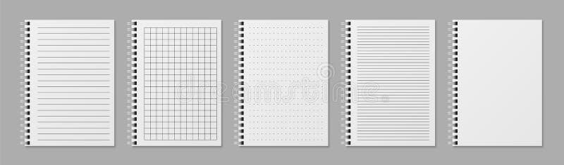 Реалистическая линия notobooks Пробел проложил sketchbook с точками и линиями для записи шаблонов вектора иллюстрация штока
