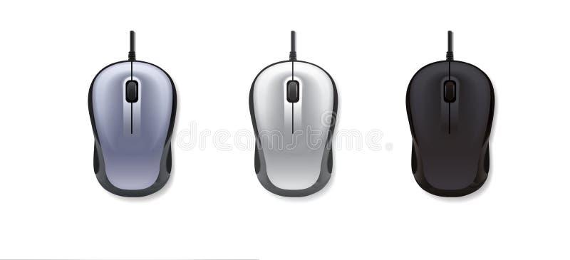 реалистическая мышь компьютера 3 на белом backgroundgrey, свет-серый и черный также вектор иллюстрации притяжки corel бесплатная иллюстрация