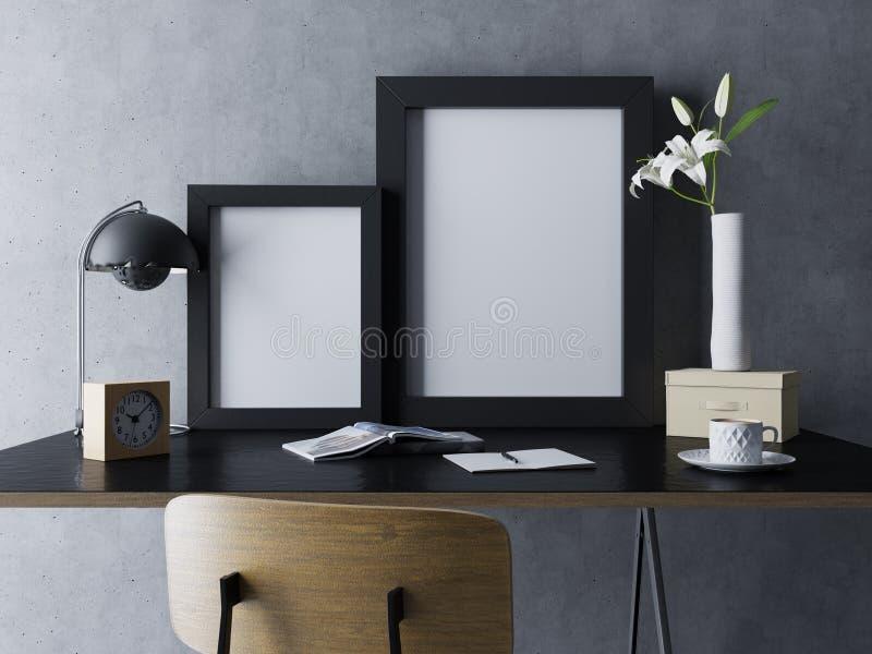 реалистическая насмешка вверх пустого шаблона плаката 2 в черной отполированной рамке в черном уютном интерьере места для работы  бесплатная иллюстрация
