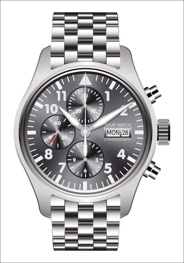 Реалистическая нержавеющая сталь хронографа часов вахты на белом векторе предпосылки иллюстрация штока