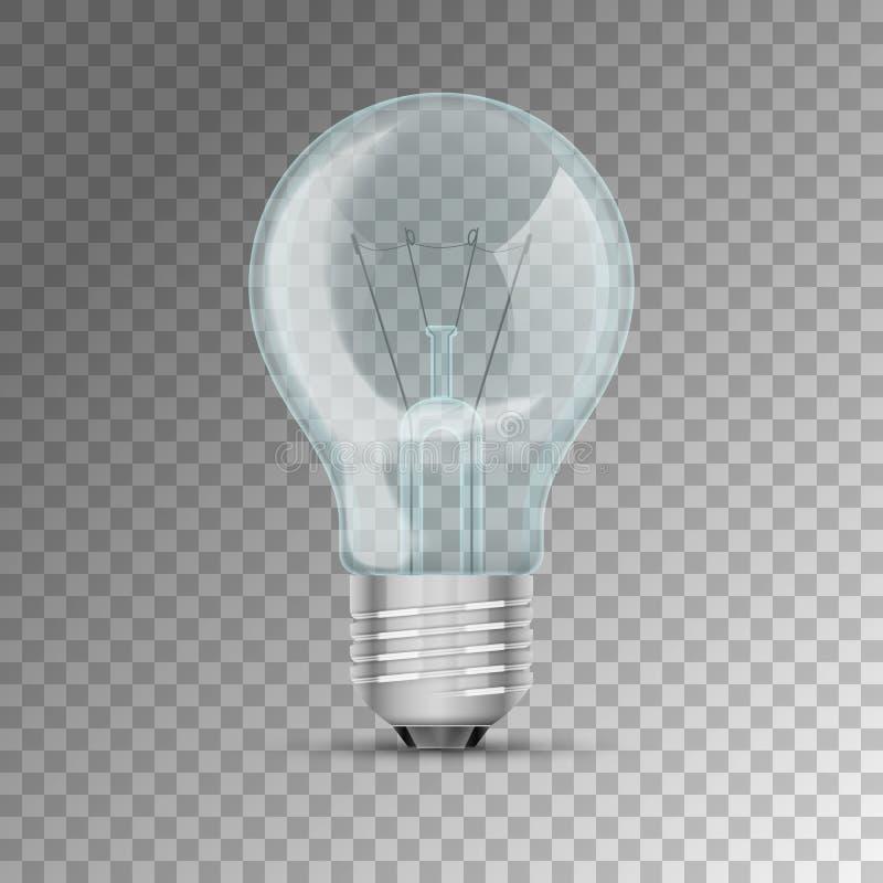 Реалистическая освещенная электрическая лампочка иллюстрация штока