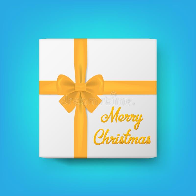 Реалистическая подарочная коробка и текст с Рождеством Христовым также вектор иллюстрации притяжки corel иллюстрация штока