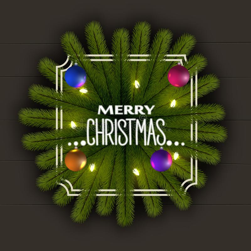 Реалистическая предпосылка рождества Рамка ветвей рождественской елки С гирляндой светов и сияющих шариков бесплатная иллюстрация