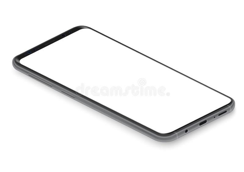 Реалистическая равновеликая черная frameless иллюстрация вектора взгляда перспективы модель-макета смартфона иллюстрация штока