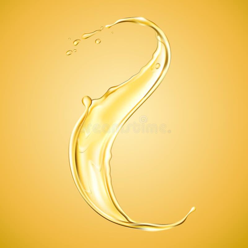Реалистическая расслоина выплеска или апельсина масла жидкостная иллюстрация вектора