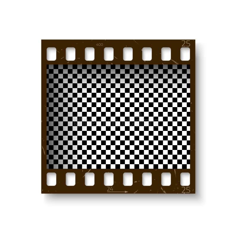 Реалистическая ретро рамка 35 mm filmstrip при тень изолированная на белой предпосылке Прозрачный отрицательный кадр также вектор иллюстрация вектора
