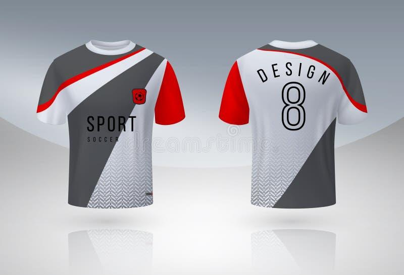 Реалистическая рубашка футбола Насмешка спорта Джерси равномерная вверх, шаблон дизайна футболки футбольной команды 3D Шея вектор иллюстрация штока