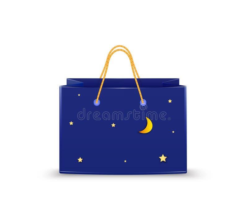 Реалистическая синяя бумажная сумка с золотыми звездами и луной, идея хозяйственной сумки ночи, бесплатная иллюстрация