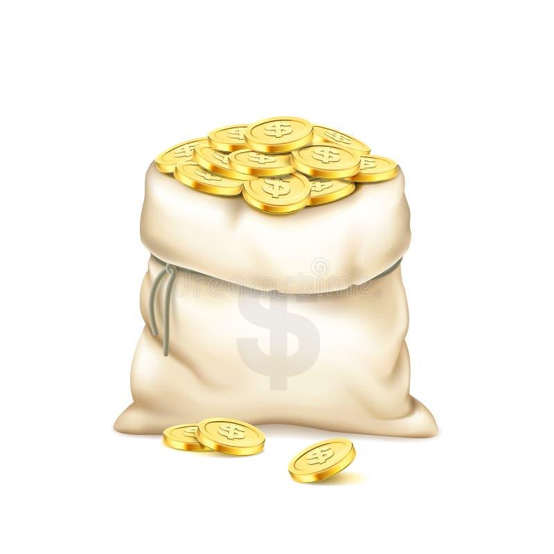 Реалистическая старая сумка с кучей золотых монеток изолированных на белой предпосылке Куча золотистых монеток Сумка с знаком дол иллюстрация вектора