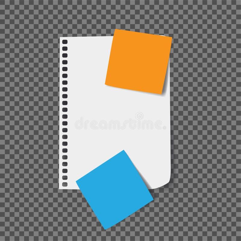 Реалистическая страница тетради с примечаниями цвета бесплатная иллюстрация