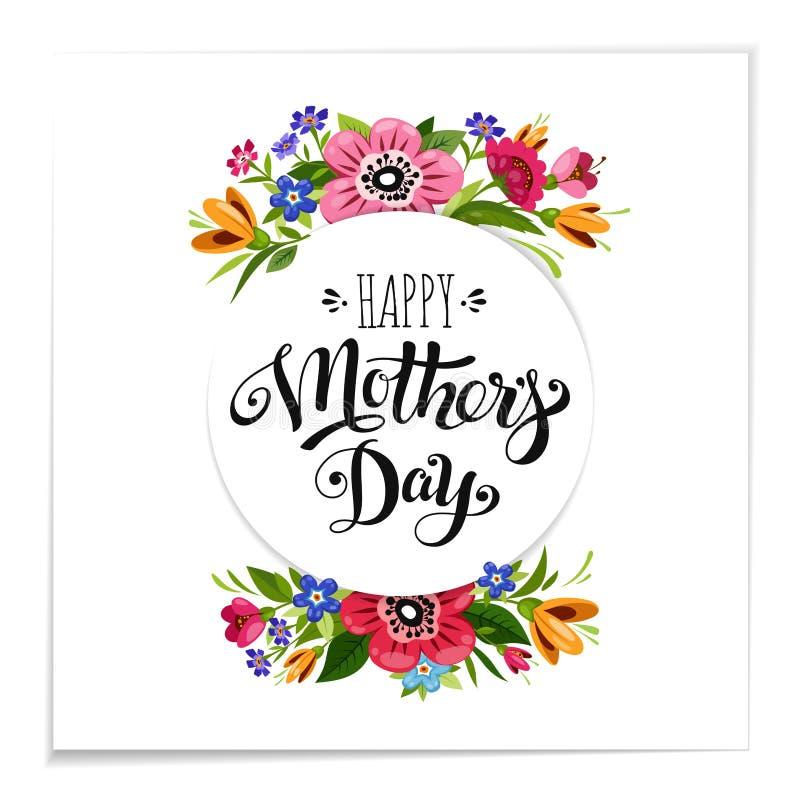 Реалистическая счастливая поздравительная открытка дня ` s матери с цветками Элегантная нарисованная рука помечающ буквами счастл иллюстрация штока